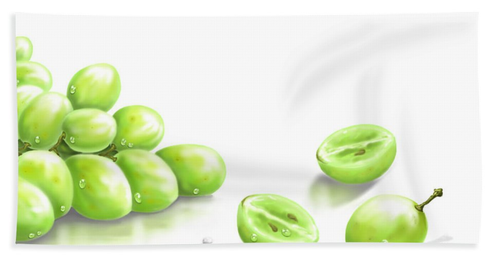 Digital Bath Sheet featuring the painting Grapes by Veronica Minozzi