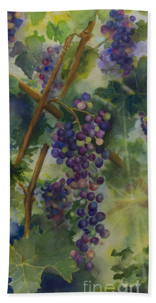 Vineyard Hand Towel featuring the painting Baby Cabernets II  Triptych by Maria Hunt