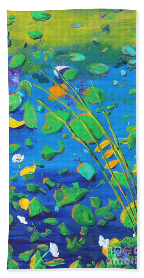 Landscape Hand Towel featuring the painting Grass Over Pond by Stefan Duncan