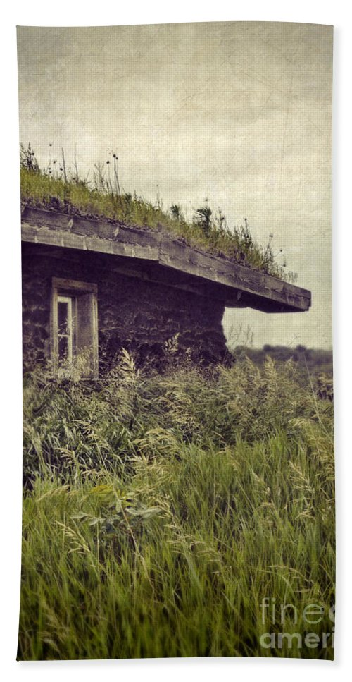 Cabin Bath Sheet featuring the photograph Grass Roof On Cottage by Jill Battaglia