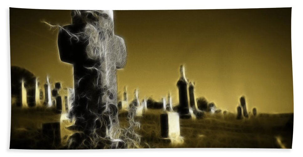 Graveyard Hand Towel featuring the photograph Graveyard 4730 by Timothy Bischoff