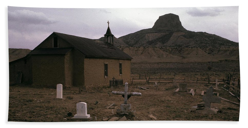 Graveyard Church Cabezon Peak Ghost Town Cabezon New Mexico 1971 Bath Towel featuring the photograph Graveyard Church Cabezon Peak Ghost Town Cabezon New Mexico 1971 by David Lee Guss
