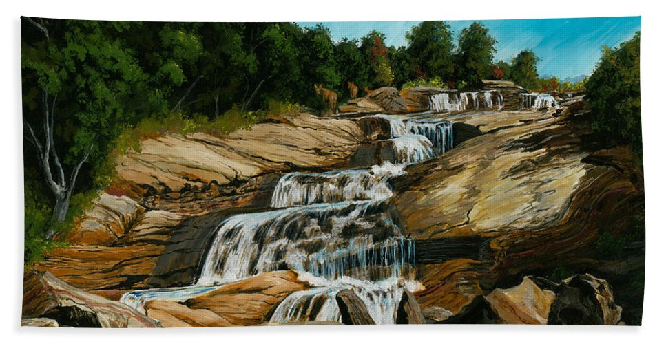 Waterfall Hand Towel featuring the painting Graveyard Falls Blue Ridge Parkway by Carlene Salazar