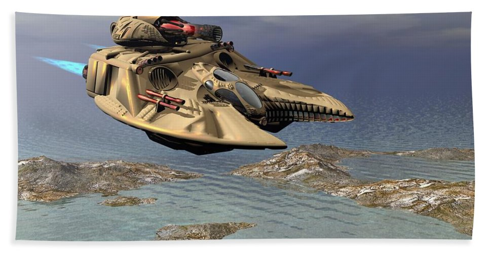 Digital Art Hand Towel featuring the digital art Gravity Tank by Michael Wimer