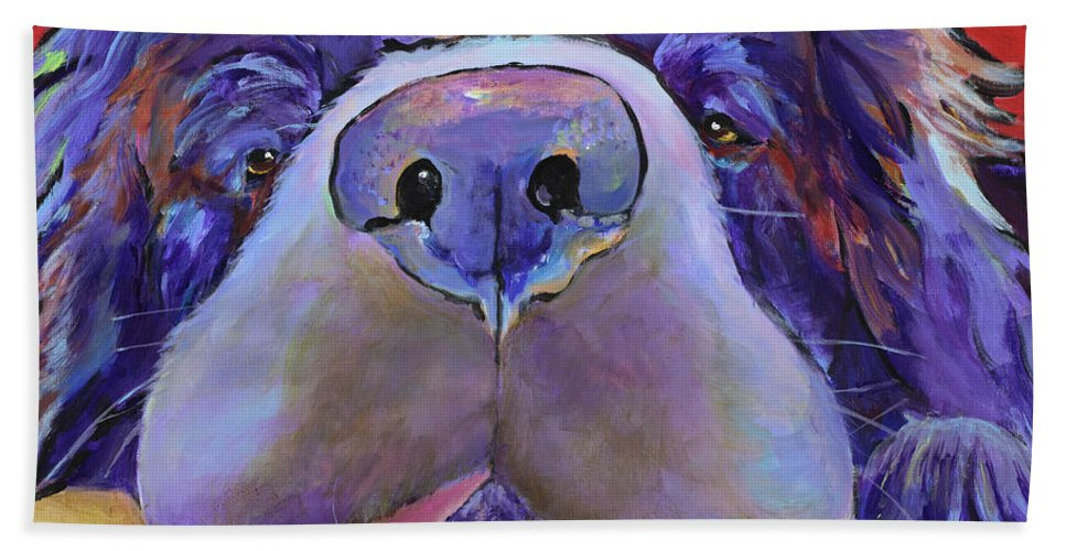 Pat Saunders-white Canvas Prints Bath Towel featuring the painting Graysea by Pat Saunders-White