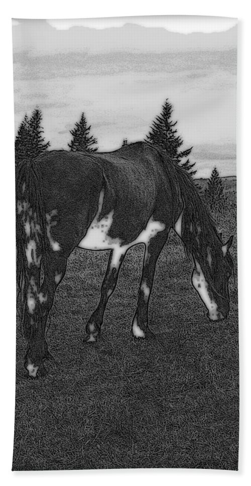 Horse Hand Towel featuring the photograph Grazing by Kathy Sampson