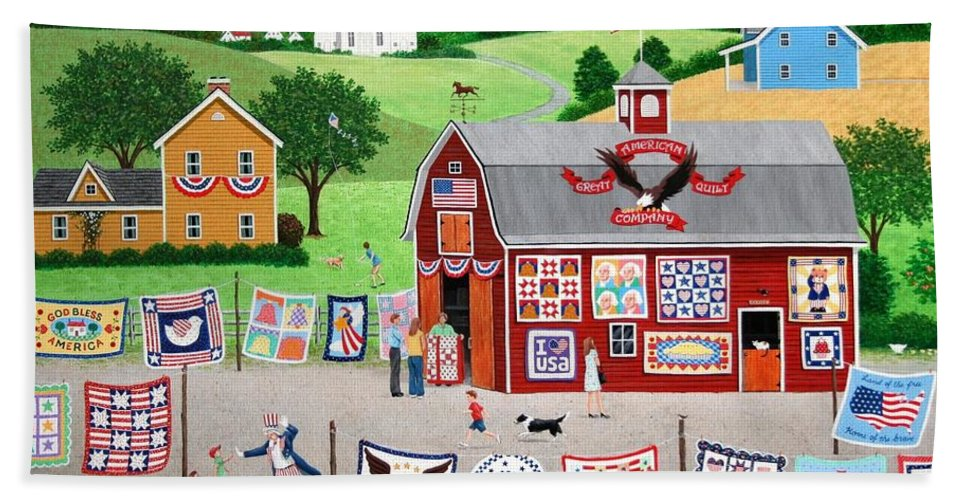 Quilt Hand Towel featuring the painting Great American Quilt Factory by Wilfrido Limvalencia