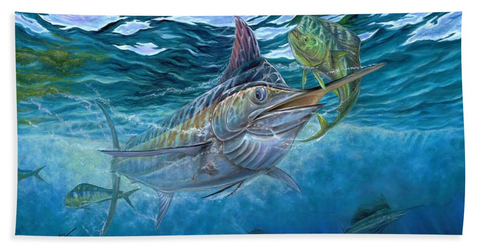 Blue Marlin Bath Sheet featuring the painting Great Blue And Mahi Mahi Underwater by Terry Fox