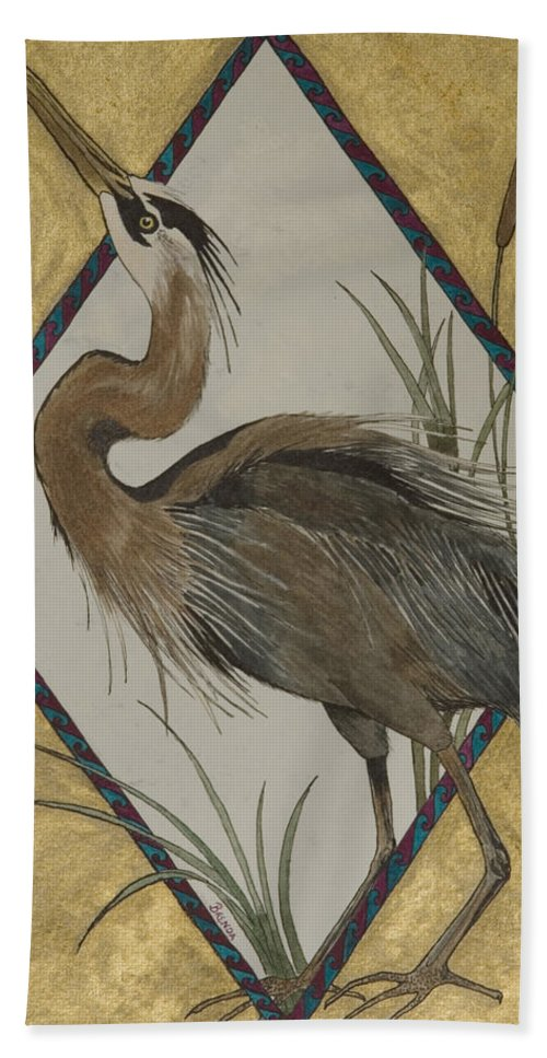 Bird Heron Marsh Cattails Watercolor Wildlife Nature Gold Hand Towel featuring the painting Great Blue Heron by Brenda Salamone