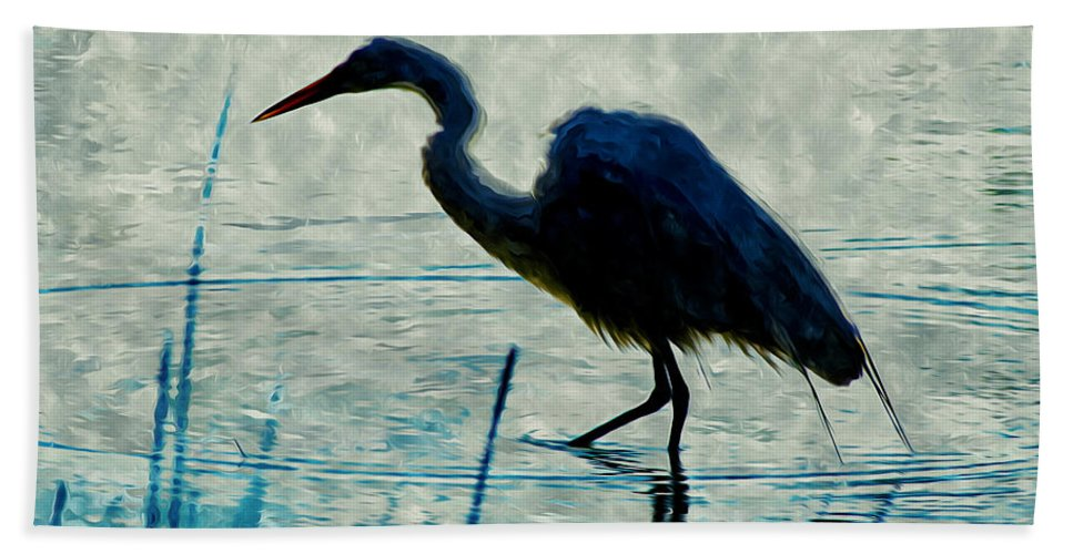 Heron Hand Towel featuring the painting Great Blue Heron Fishing In The Low Lake Waters by Jeelan Clark