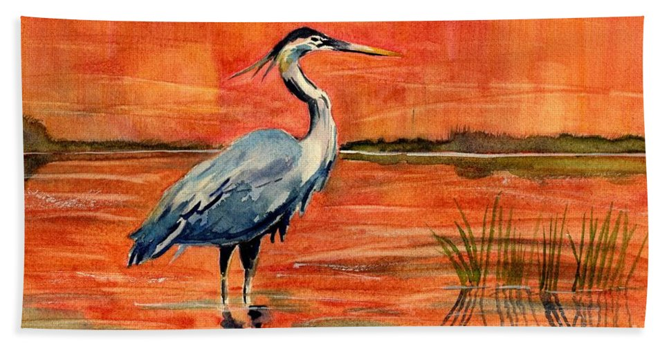 Great Blue Heron Hand Towel featuring the painting Great Blue Heron In Marsh by Melly Terpening