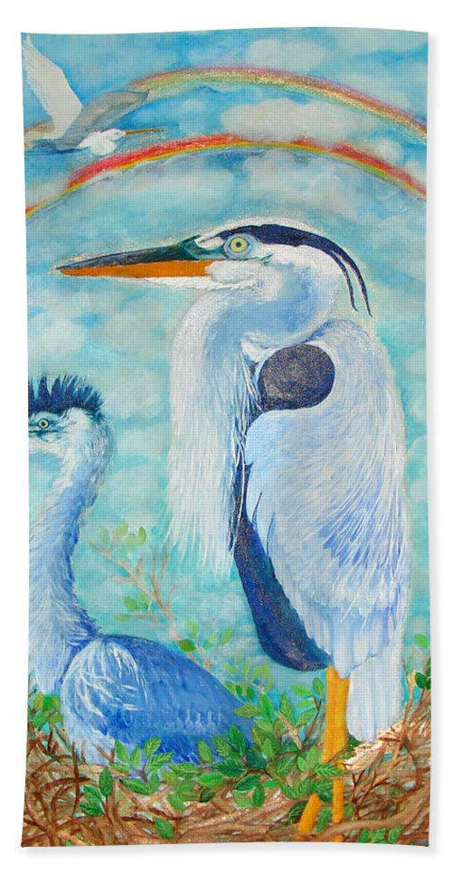 Bird Bath Sheet featuring the painting Great Blue Herons Seek Freedom by Ashleigh Dyan Bayer