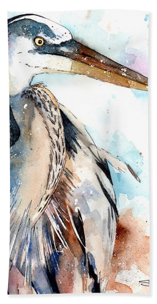 Watercolor Birds Hand Towel featuring the painting Great Blue by Sean Parnell