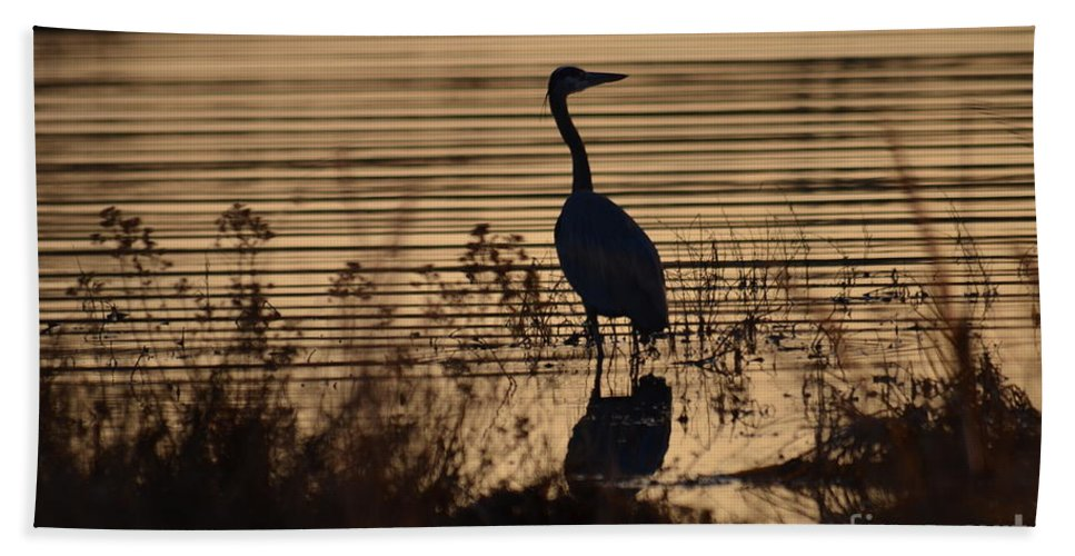 Heron Hand Towel featuring the photograph Great Blue Silhouette by Deanna Cagle