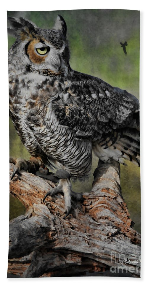 Owl Hand Towel featuring the photograph Great Horned Owl On Branch by Deborah Benoit