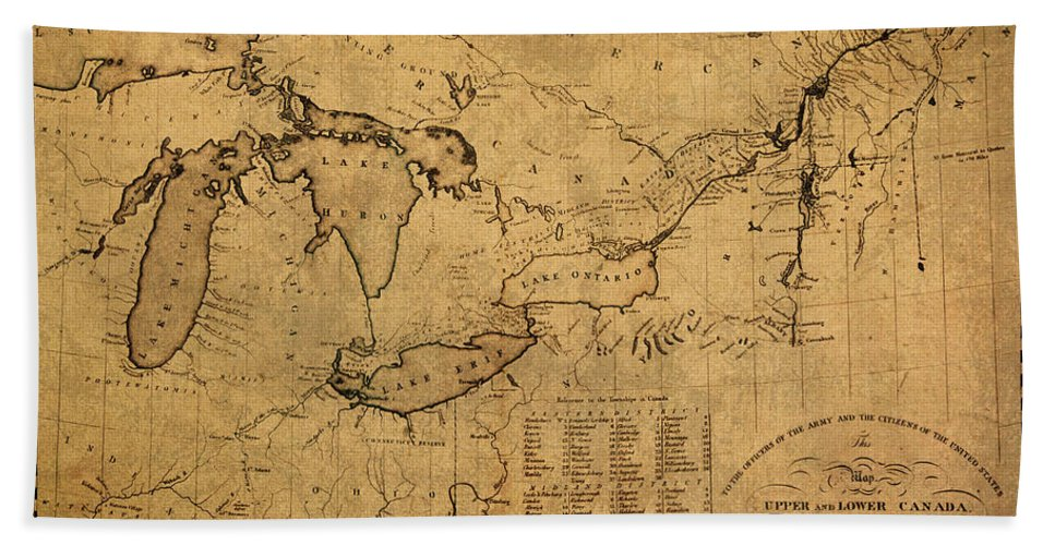 Great Lakes Bath Towel featuring the mixed media Great Lakes And Canada Vintage Map On Worn Canvas Circa 1812 by Design Turnpike