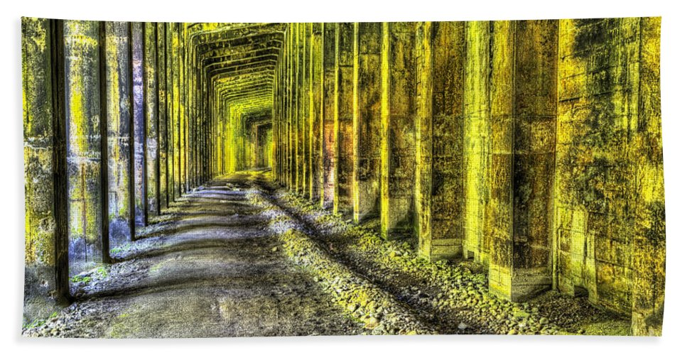 Snow Shed Bath Sheet featuring the photograph Great Norther Railroad Snow Shed - Electric Neon by Mark Kiver