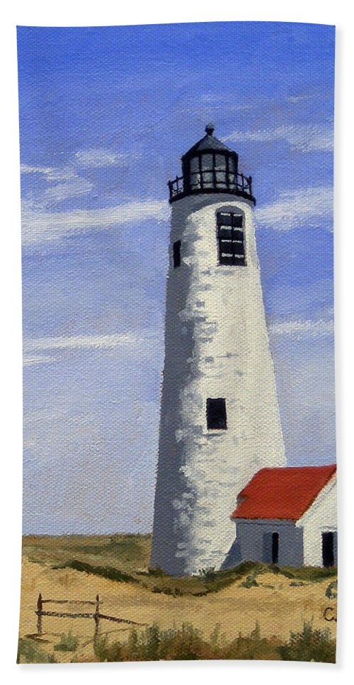 Christine Hopkins Hand Towel featuring the painting Great Point Lighthouse Nantucket Massachusetts by Christine Hopkins