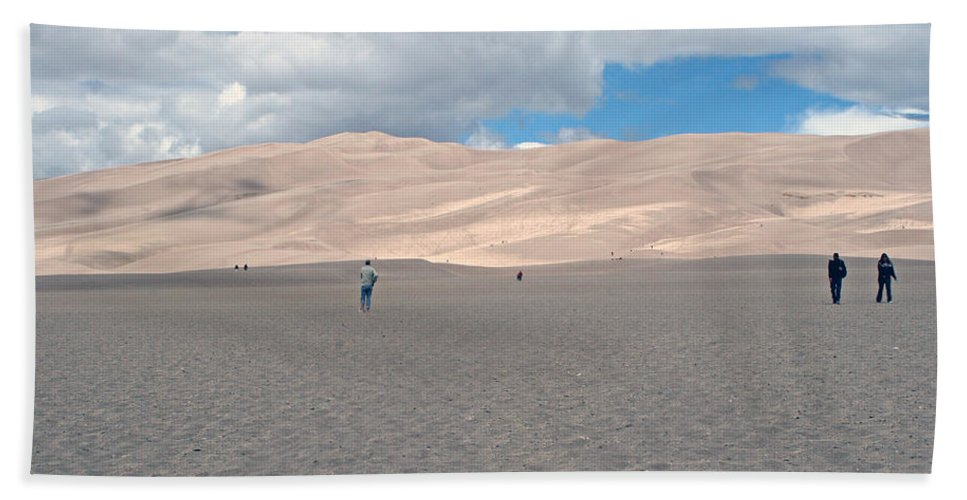 Rain Clouds Hand Towel featuring the photograph Great Sand Dunes Park by Shirley Roberson