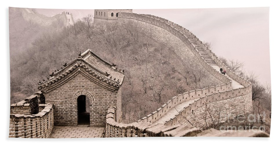 Great Wall Of China Bath Sheet featuring the photograph Great Wall Of China by Delphimages Photo Creations