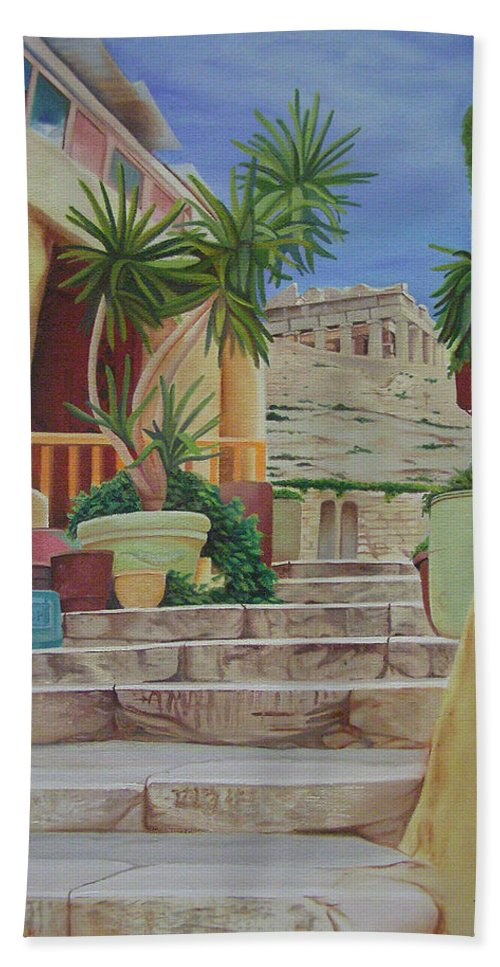 Greece Bath Towel featuring the painting Greece by Joshua Morton