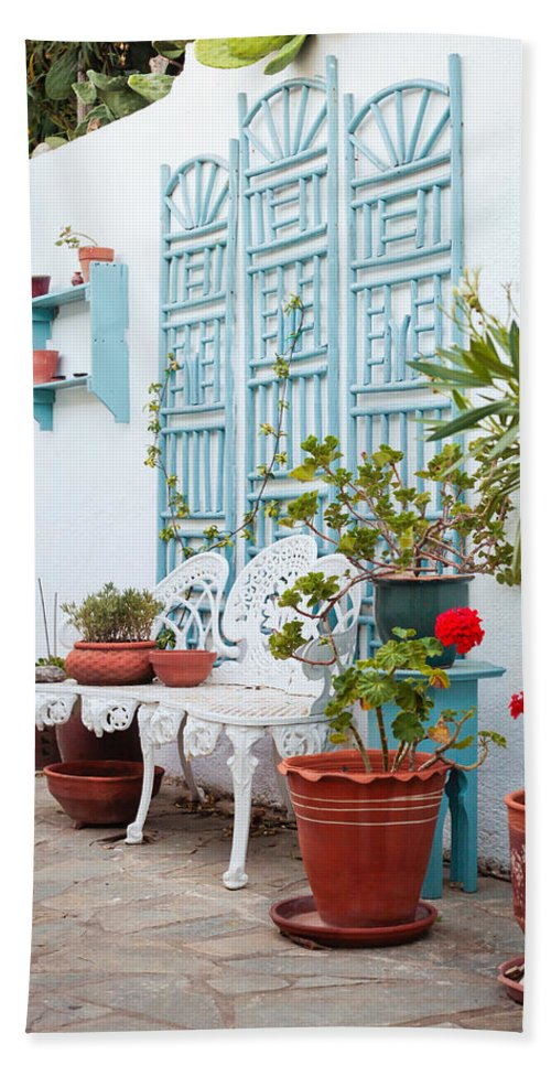 Area Bath Sheet featuring the photograph Greek Courtyard by Tom Gowanlock