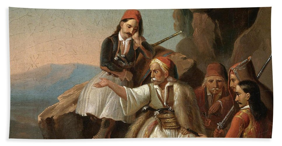 Theodoros Vryzakis Bath Sheet featuring the painting Greek Freedom Fighters by Theodoros Vryzakis