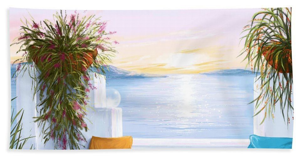 Seascape Hand Towel featuring the painting Greek House by Veronica Minozzi