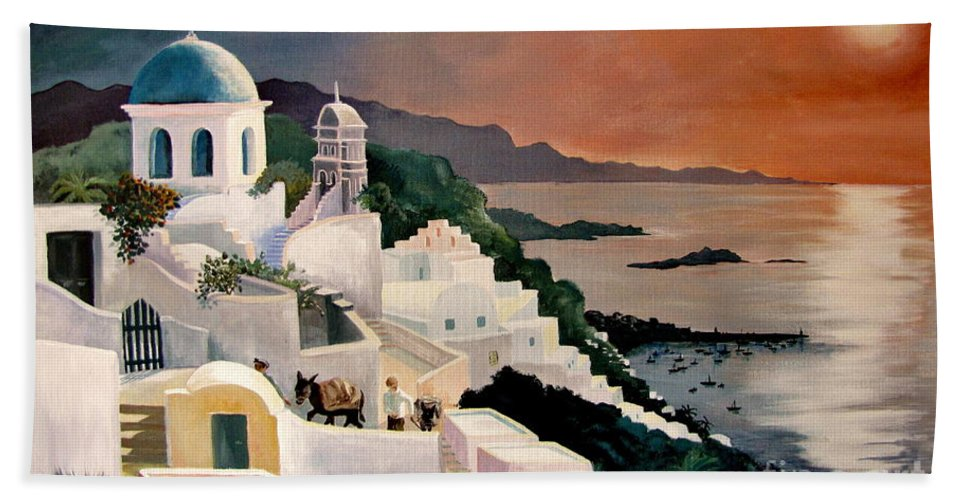 Greek Isles Bath Sheet featuring the painting Greek Isles by Marilyn Smith