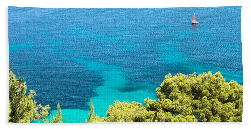 Aegean Bath Sheet featuring the photograph Greek Sea View by Tom Gowanlock
