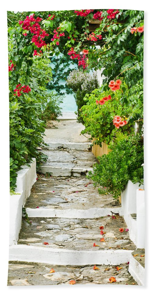 Alleyway Bath Sheet featuring the photograph Greek Steps by Tom Gowanlock