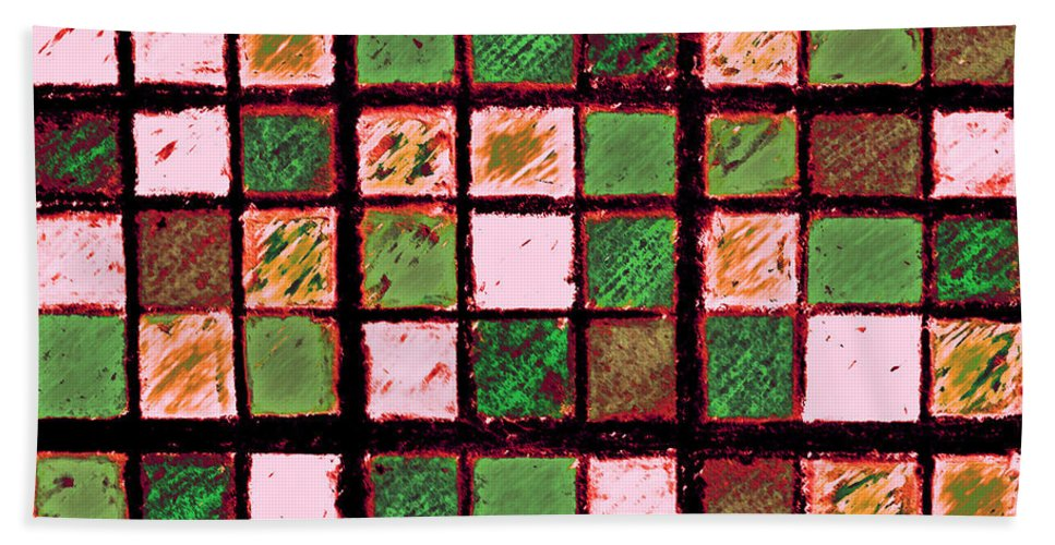Photo Manipulation Hand Towel featuring the photograph Green And Brown Sudoku by Karen Adams
