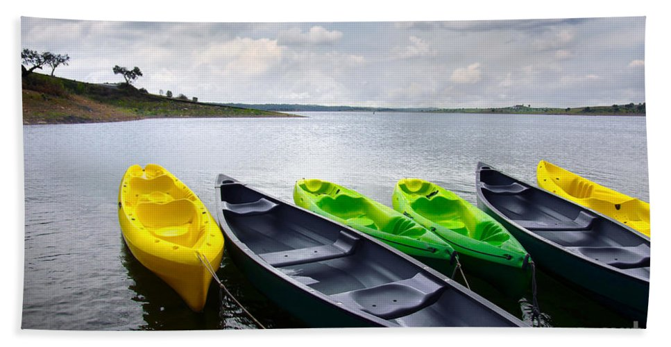 Activity Hand Towel featuring the photograph Green And Yellow Kayaks by Carlos Caetano