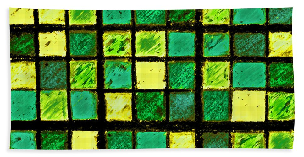 Photo Manipulation Hand Towel featuring the photograph Green And Yellow Sudoku by Karen Adams