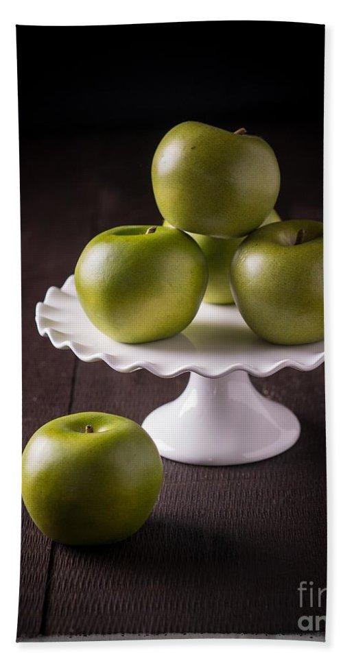 Still Life Bath Sheet featuring the photograph Green Apple Still Life by Edward Fielding