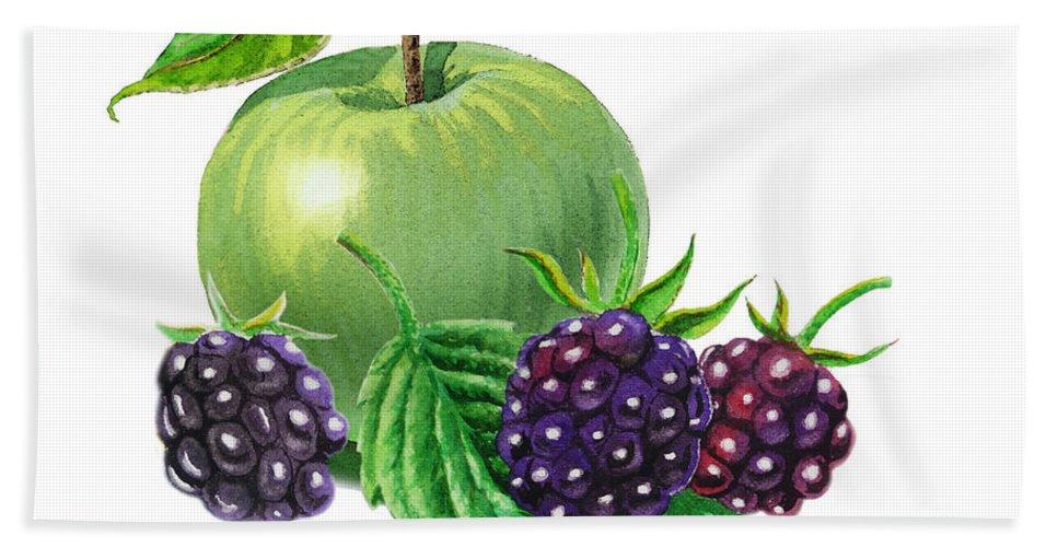 Apple Hand Towel featuring the painting Green Apple With Blackberries by Irina Sztukowski