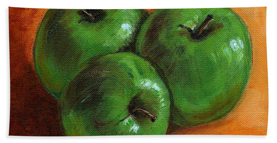 Apples Bath Towel featuring the painting Green Apples by Asha Sudhaker Shenoy
