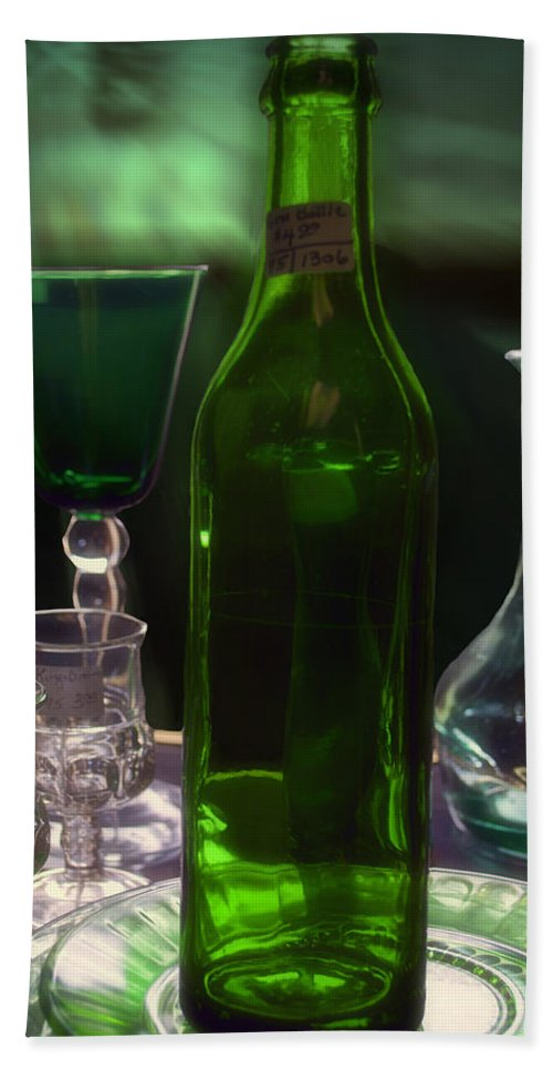 Bottle Bath Sheet featuring the photograph Green Bottle by Thomas Woolworth