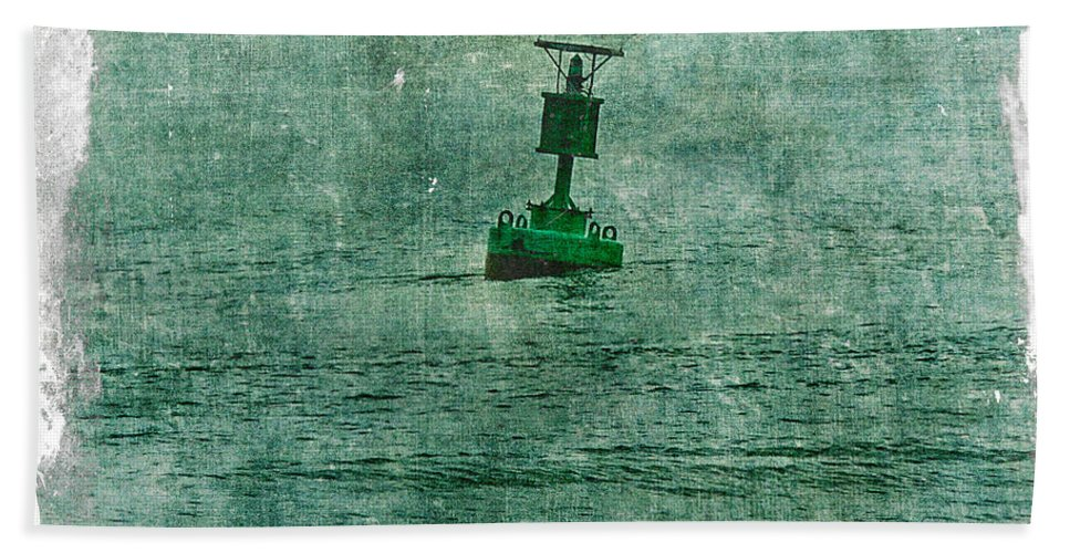 Buoy Bath Sheet featuring the photograph Green Buoy - Barnegat Inlet - New Jersey - Usa by Mother Nature