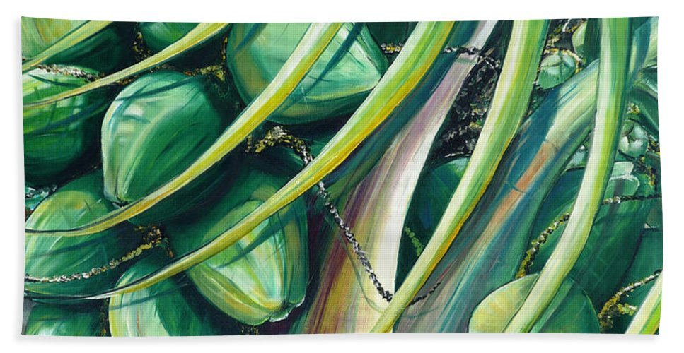 Coconut Painting Caribbean Painting Coconuts Caribbean Tropical Painting Palm Tree Painting  Green Botanical Painting Green Painting Bath Sheet featuring the painting Green Coconuts 2 by Karin Dawn Kelshall- Best