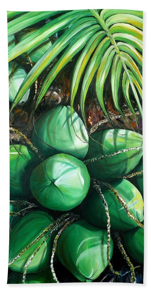 Tropical Painting Caribbean Painting Green Painting Palm Tree Painting Greeting Card Painting Botanical Painting Tree Painting Bath Towel featuring the painting Green Coconuts 3 Sold by Karin Dawn Kelshall- Best