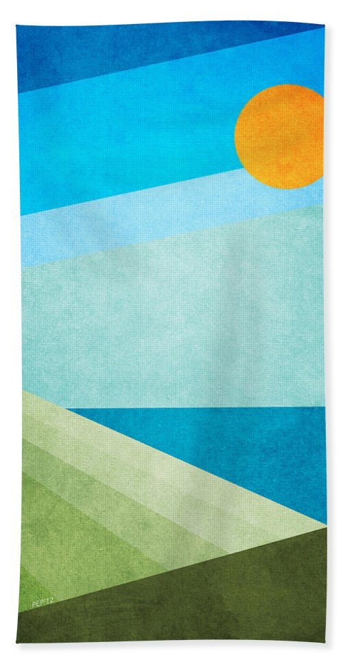 Graphic Design Bath Sheet featuring the digital art Green Fields Blue Waters by Phil Perkins