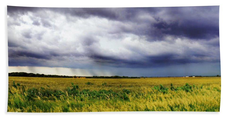 Storm Hand Towel featuring the photograph Green Fields by Eric Benjamin