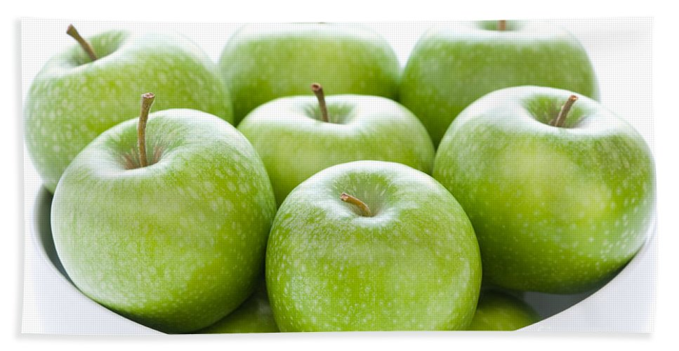 Apples Hand Towel featuring the photograph Green Granny Smith Apples by Lee Avison