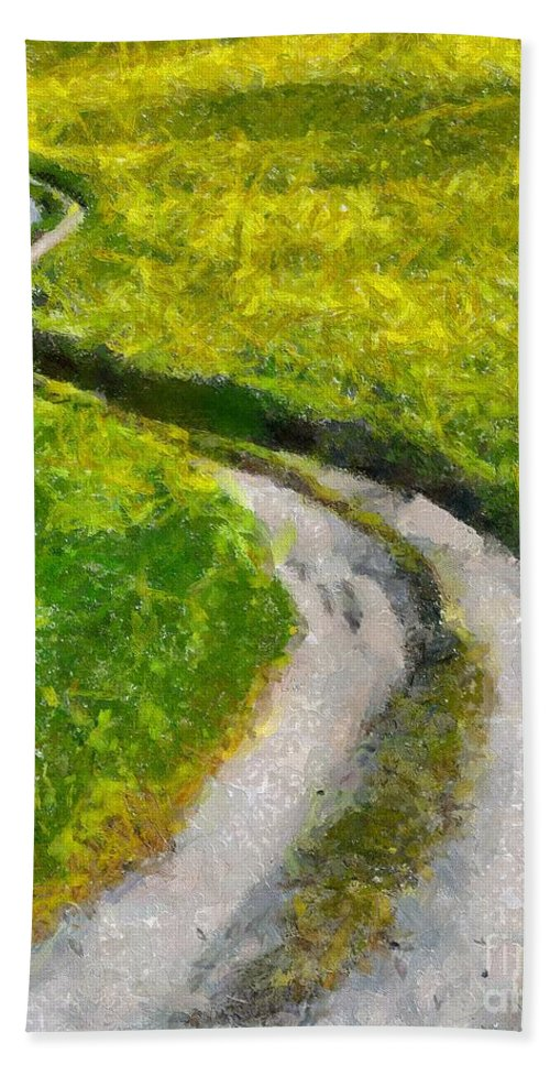 Spring Hand Towel featuring the painting Green Green Grass Of Home by Dragica Micki Fortuna