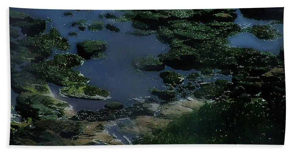 Rocks Hand Towel featuring the painting Green Green Rocky Road by RC DeWinter