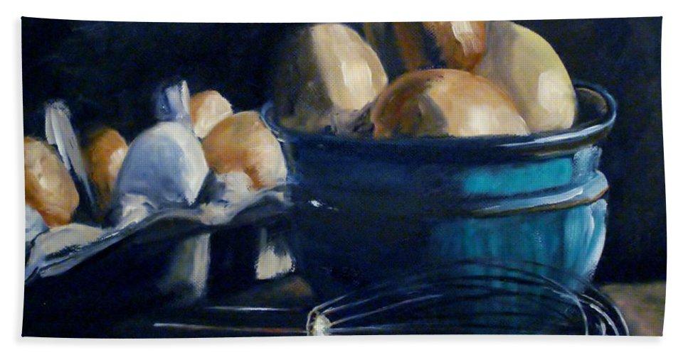 Egg Bath Sheet featuring the painting Green Hill Farms Fresh Eggs by Donna Tuten