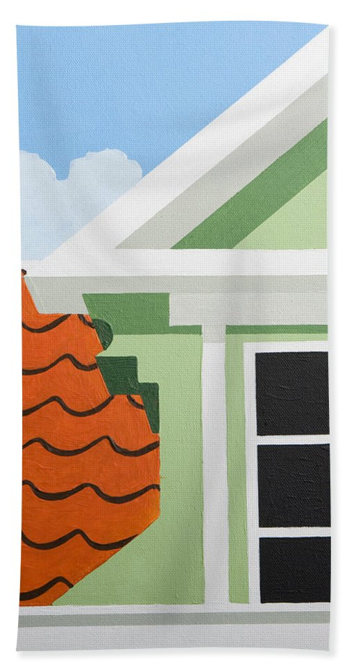 Painting Hand Towel featuring the painting Green House by Trudie Canwood
