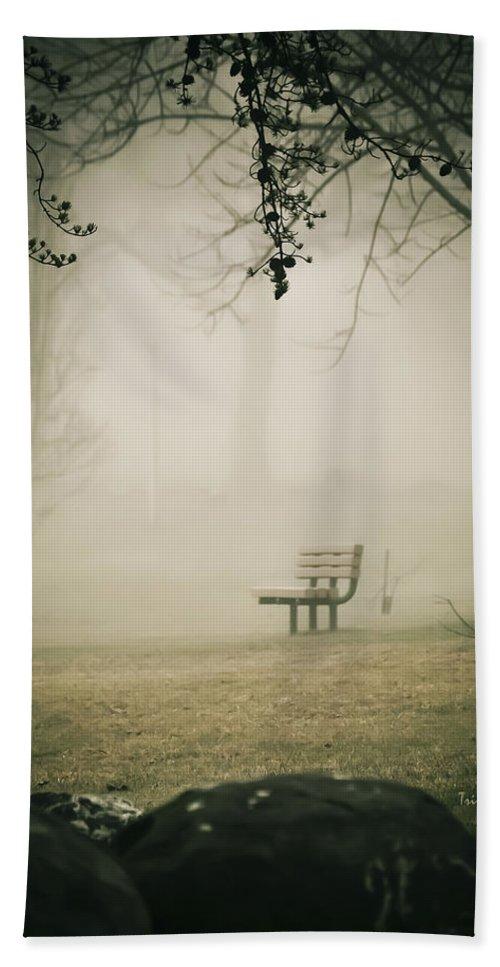 Green Lane Bath Sheet featuring the photograph Green Lane On A Foggy Morning by Trish Tritz