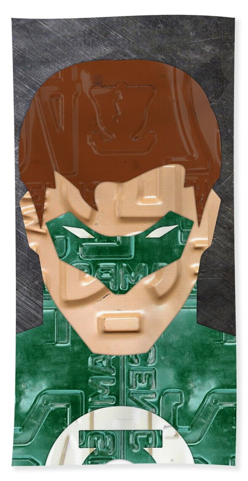 Green Lantern Bath Sheet featuring the mixed media Green Lantern Superhero Portrait Recycled License Plate Art by Design Turnpike